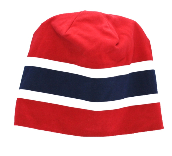 Image of Hat with flag stripes red/white /blue
