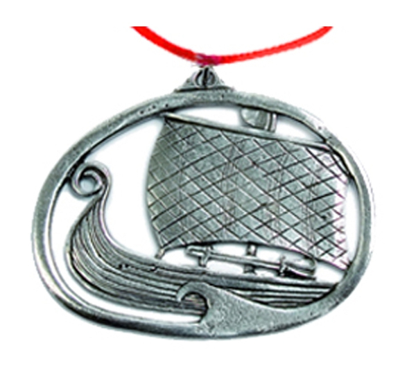 Image of Ornament, Viking ship with sail Tinn-Per