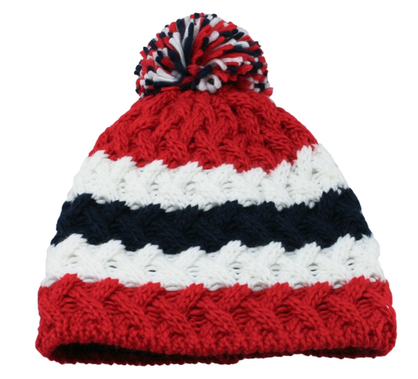 Image of Knitted hat with braid pattern flag stripes
