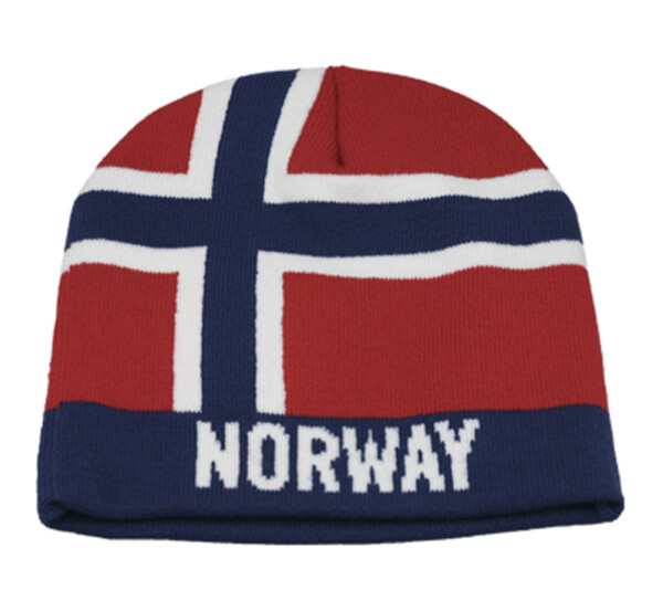 Image of Knitted flag hat with Norway red/white/blue