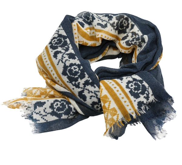 Image of Wool scarf Hurdalsrose blue