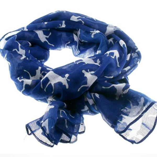 Image of Scarf with moose silhouettes Blue/white