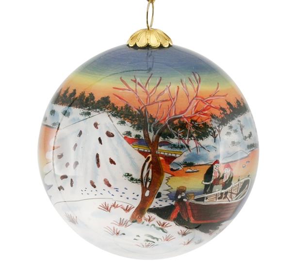 Image of Glass ball, santas in boat