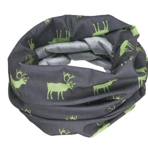 Image of Neck gaiter with reindeer silhouettes grey/green