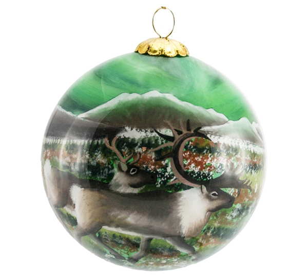 Image of Glass ball, Northern light and reindeers