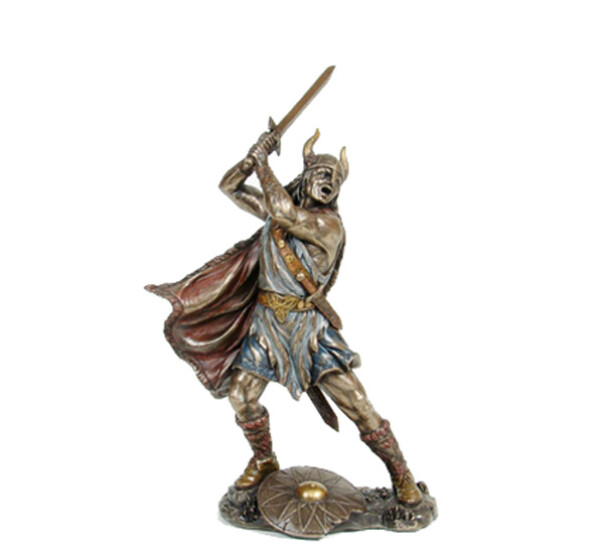 Image of Viking warrior, hands holding  a sword