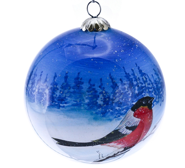 Image of Glass ball, bullfinch 'Bergerlind'