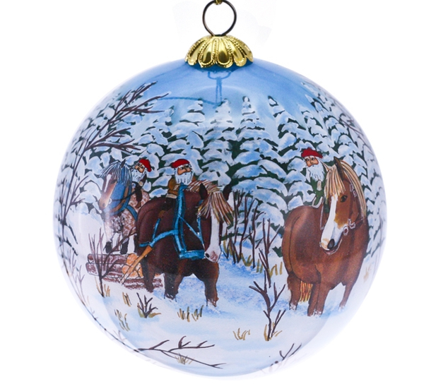 Image of Glass ball, Santas working in the forrest,