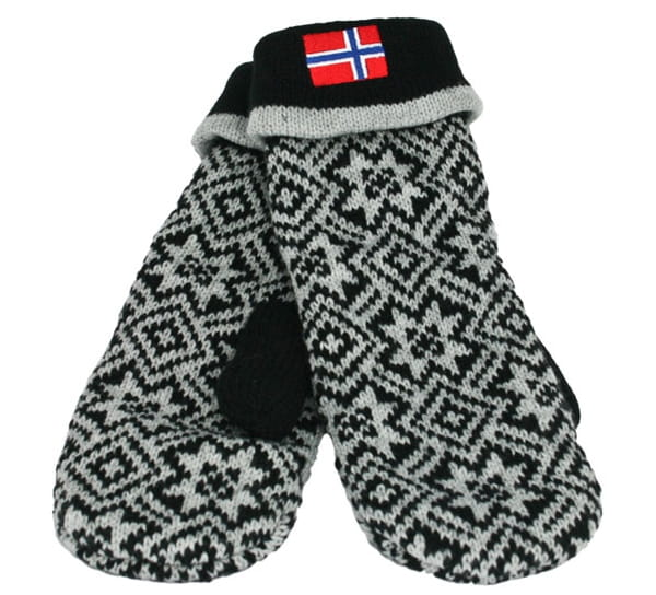 Image of Knitted mittens with flag black/grey