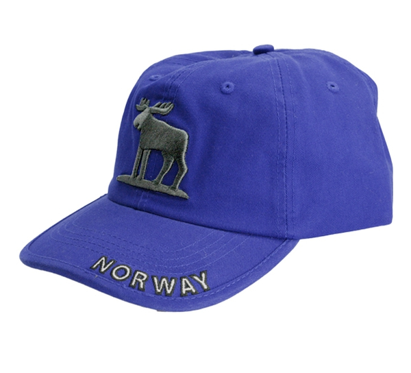 Image of Caps blue with moose and Norway