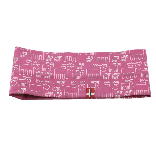 Image of Headband with moose design pink white