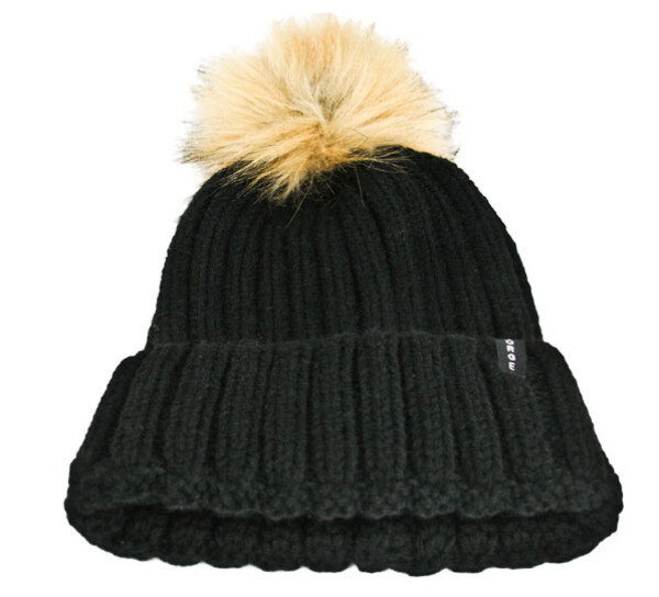 Image of Hat rib knitted, black with tassel Norge