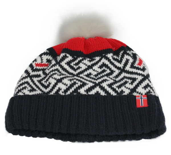 Image of Knitted hat labyrinth pattern with tassel