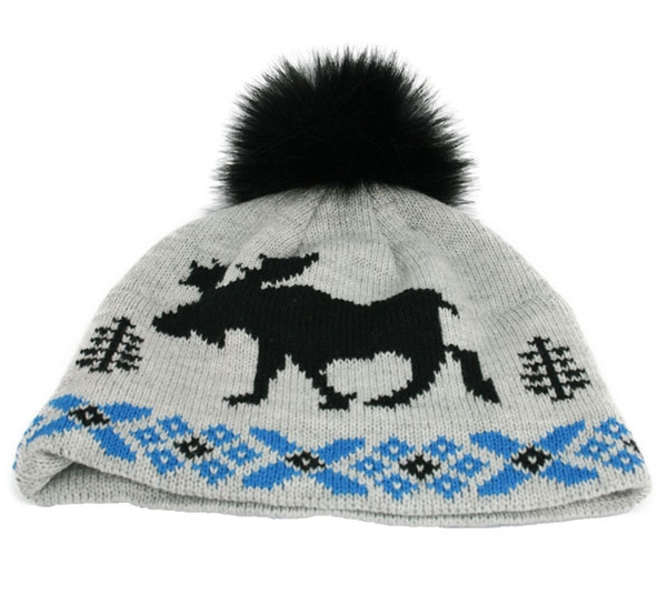 Image of Knitted hat with moose and tassel grey/black/blue
