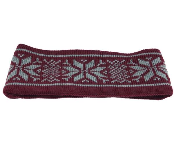 Image of Headband knitted starpattern burgundy/grey