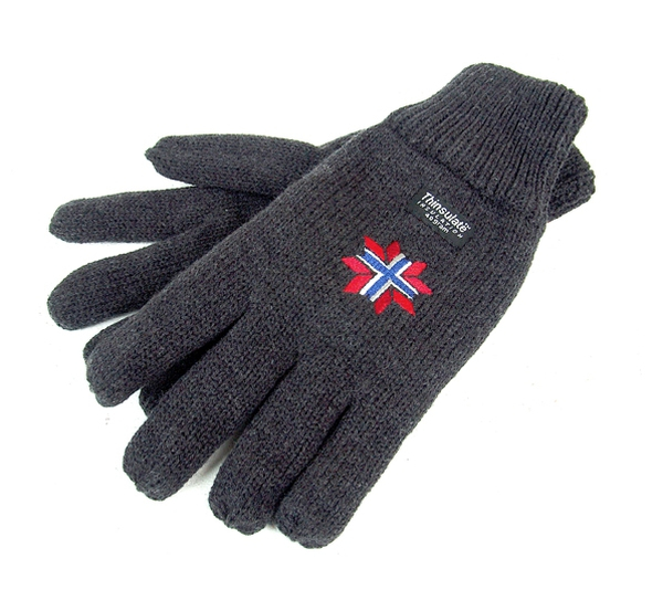 Image of Knitted gloves grey with embroidery star-nor grey