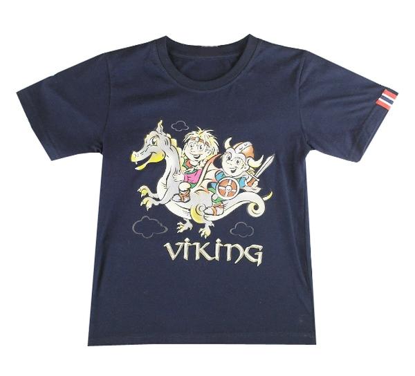 Image of Children T-Shirt, Viking kids on a dragon, deep