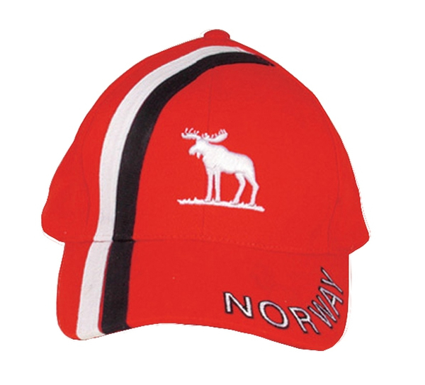 Image of Caps, red with moose and Norway