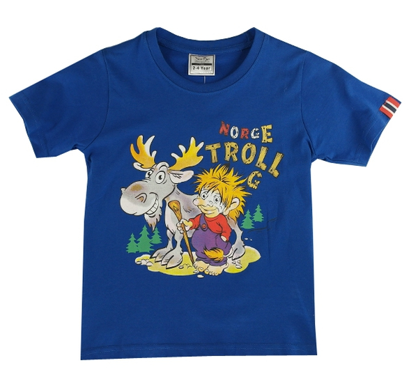 Image of Children t-shirt, troll boy with moose, sky blue