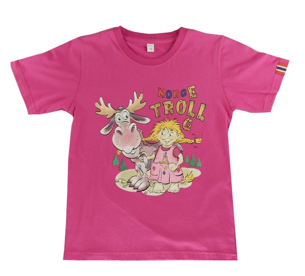 Image of Children t-shirt, Troll girl with moose, pink