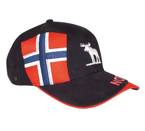 Image of Caps blue with moose, flag and Norway