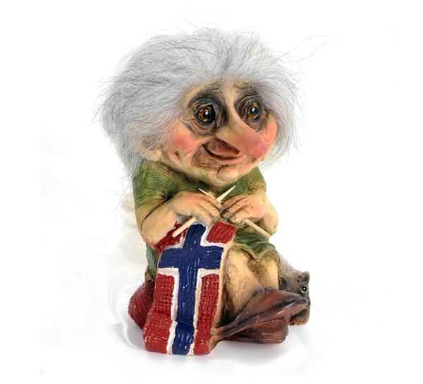 Image of Troll granma knitting flag, (Troll # 149)