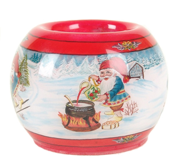 Image of Candle holder santas in the snow  Julestemning