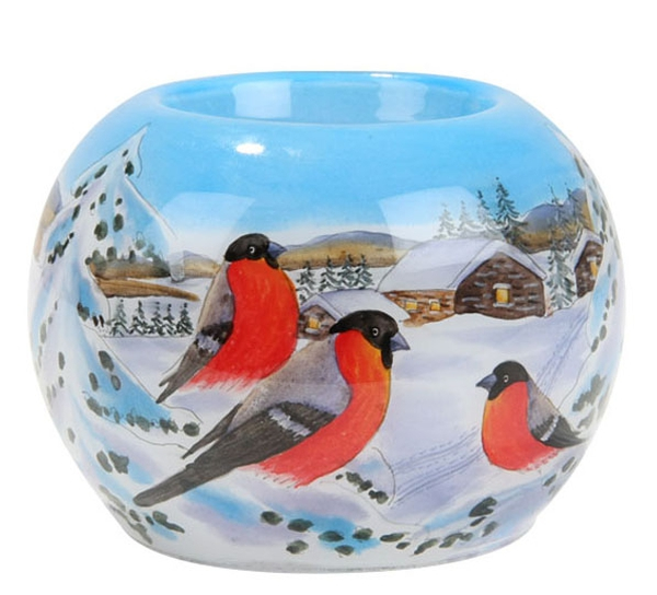 Image of Candle holder with bullfinch