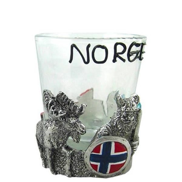 Image of Shot glass, poly viking/moose, Norge
