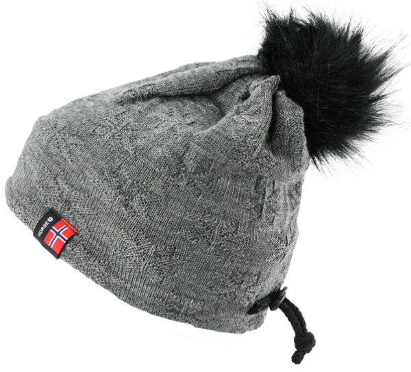 Image of Knitted hat with purl stitch rose grey, black