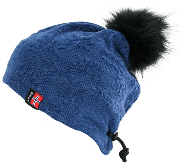 Image of Knitted hat with purl stitch rose blue, black