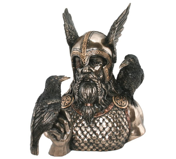 Image of Bust of Odin with Huginn and Muninn