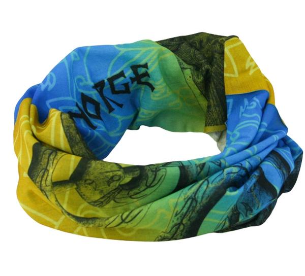 Image of Neck gaiter with viking pattern, blue