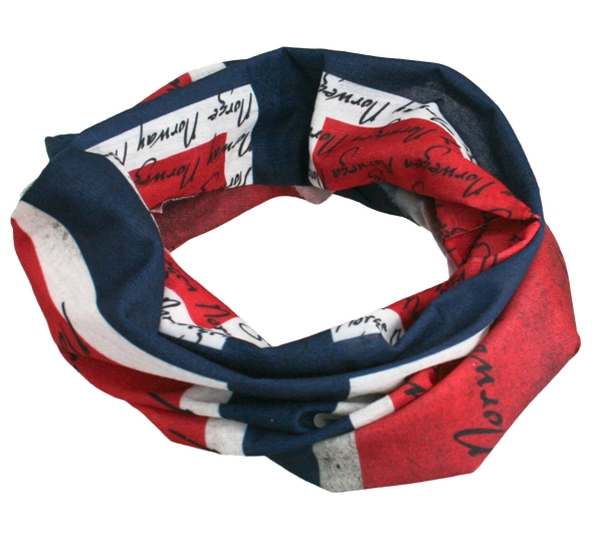 Image of Neck gaiter with norwegian flag, red/white/blue