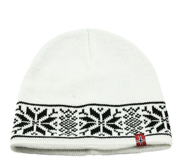 Image of Knitted hat with star pattern white/black