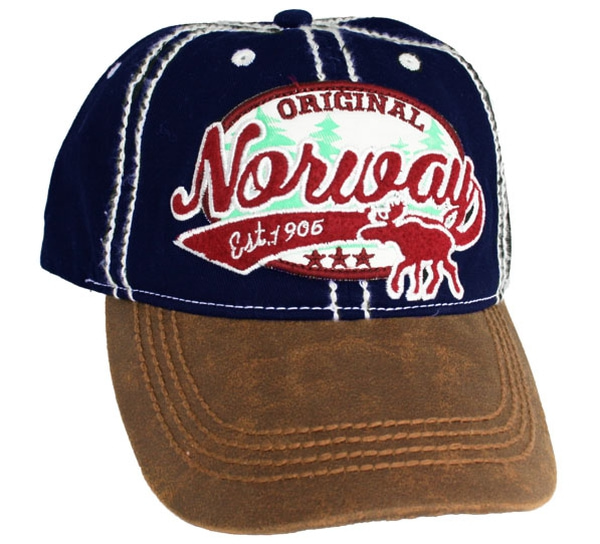 Image of Caps blue 'Norway', moose and trees