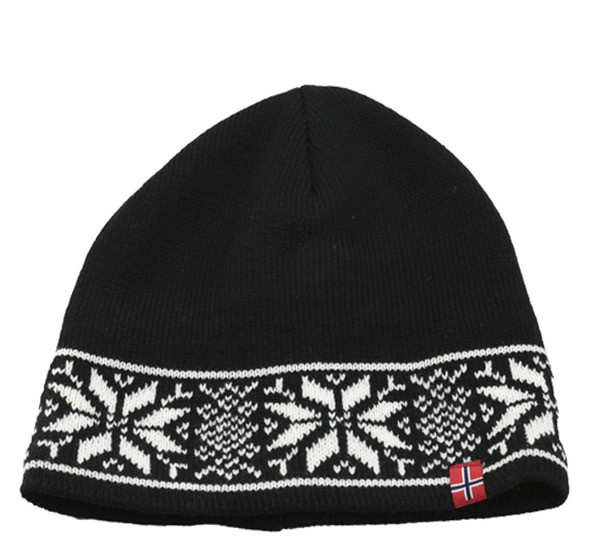 Image of Knitted hat with star pattern black/white