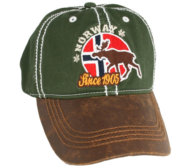 Image of Caps, green, flag and moose