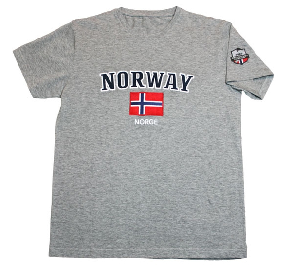 Image of T-shirt, Norway and flag grey mottled