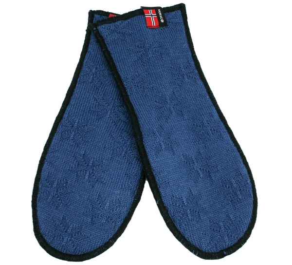 Image of Knitted mittens with purl stitch rose blue/black