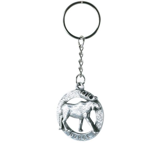 Image of Key Chain, Elk, 'Norge' Tinn-Per
