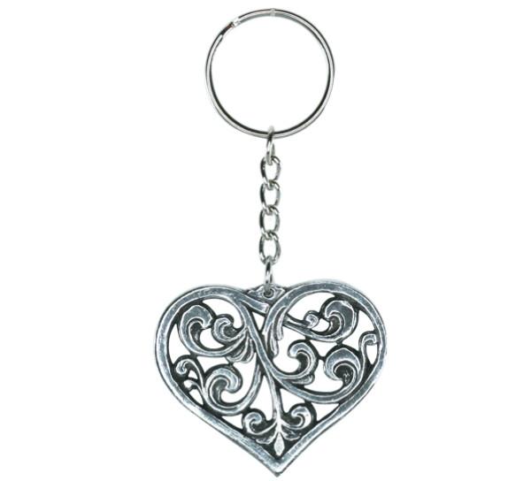 Image of Key Chain, Rosemaling heart Tinn-Per