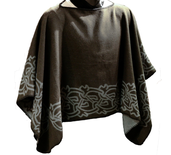 Image of Poncho with viking pattern, black/grey, one size