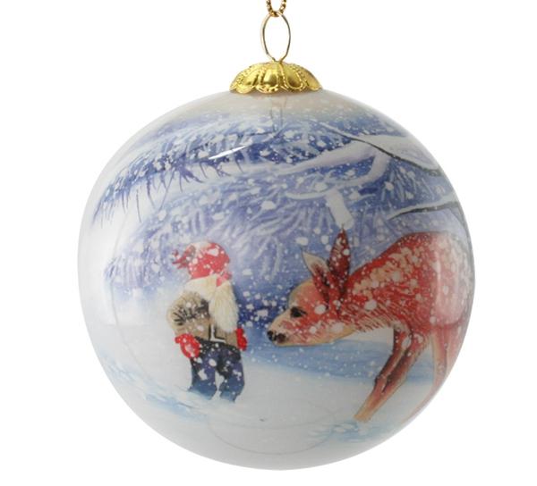 Image of Glass ball, santa with deer