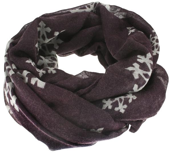 Image of Wool scarf snowflake violett