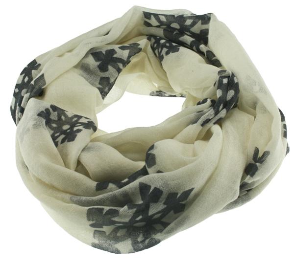 Image of Wool scarf snowflake beige
