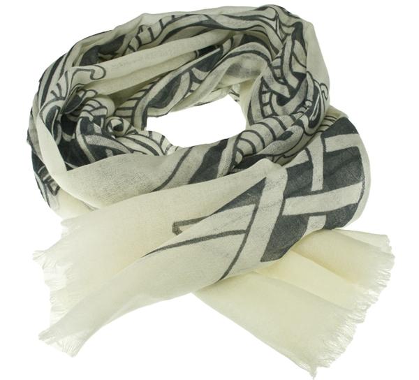 Image of Scarf, viking pattern, white, 100% wool