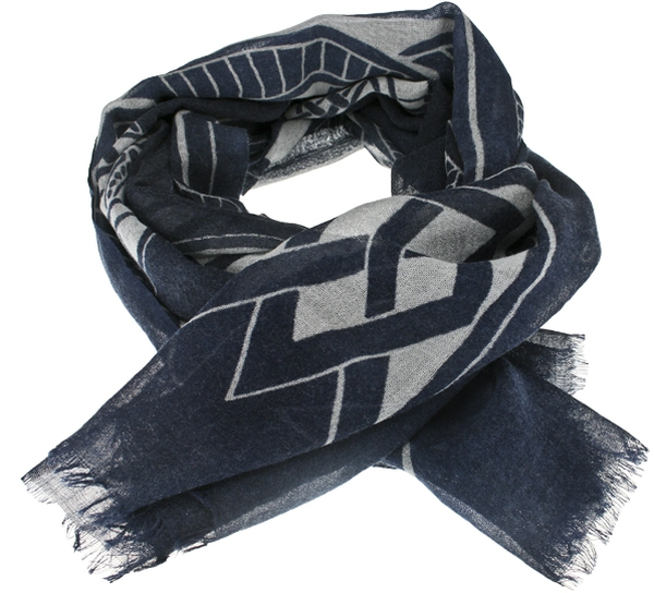 Image of Scarf, viking pattern, blue, 100% wool