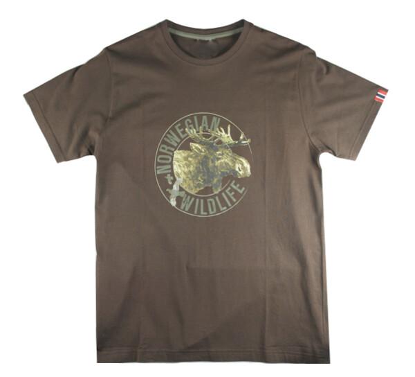 Image of T-shirt 'Norwegian Wildlife' Moose, brown