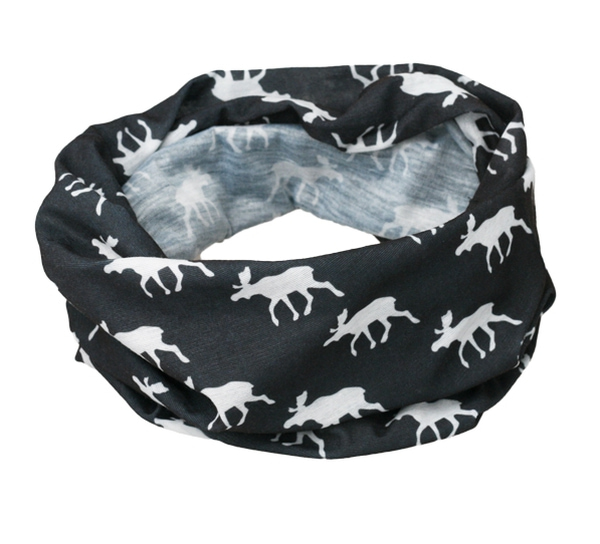 Image of Neck gaiter with moose silhouettes black/white